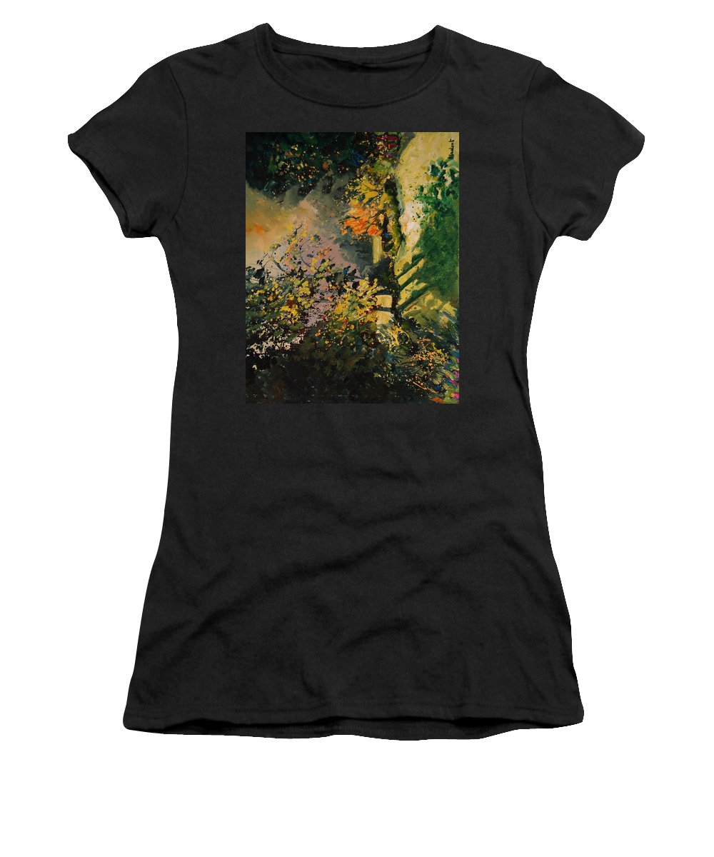 River Women's T-Shirt (Athletic Fit) featuring the painting Light In The Wood by Pol Ledent