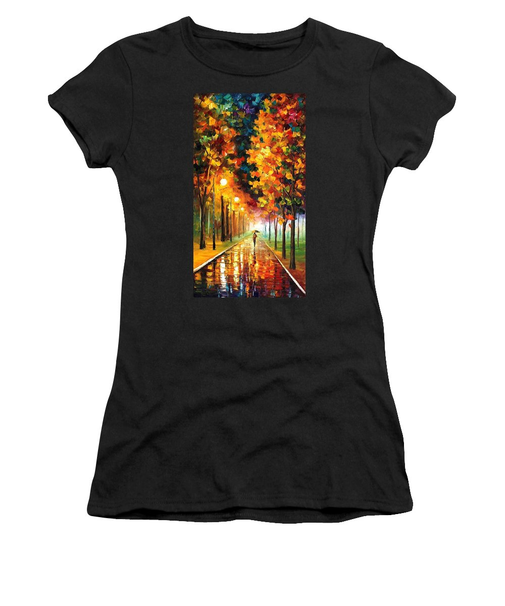 Afremov Women's T-Shirt (Athletic Fit) featuring the painting Light Of Autumn by Leonid Afremov