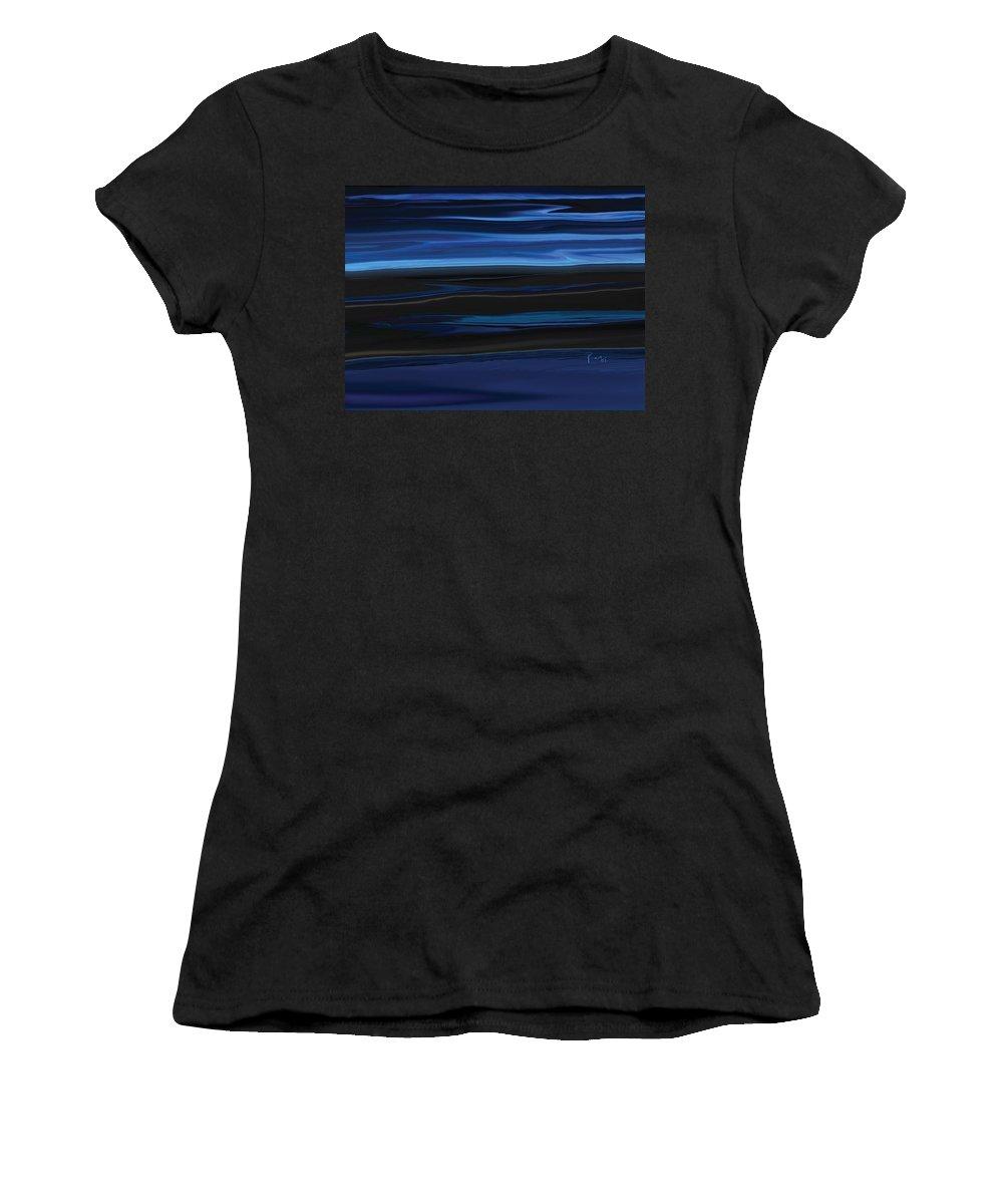 Black Women's T-Shirt (Athletic Fit) featuring the digital art Light On The Horizon by Rabi Khan