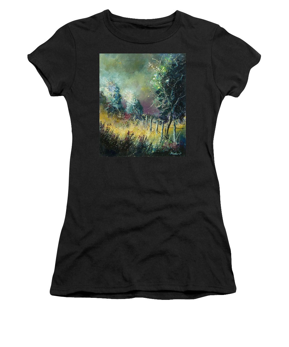 Landscape Women's T-Shirt (Athletic Fit) featuring the painting Light On Trees by Pol Ledent