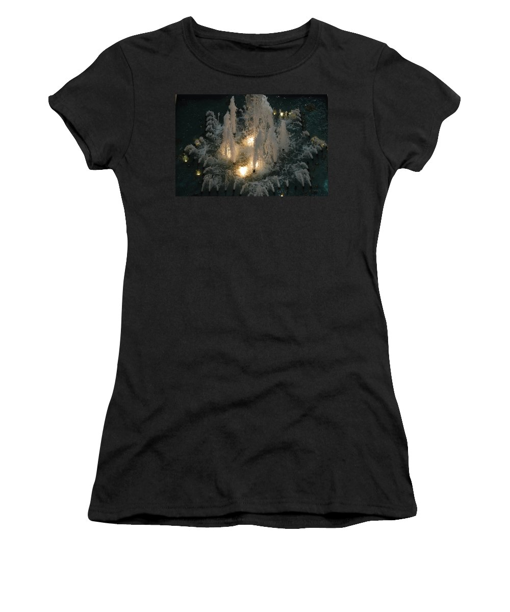 Lights Women's T-Shirt (Athletic Fit) featuring the photograph Lighted Fountain by Rob Hans