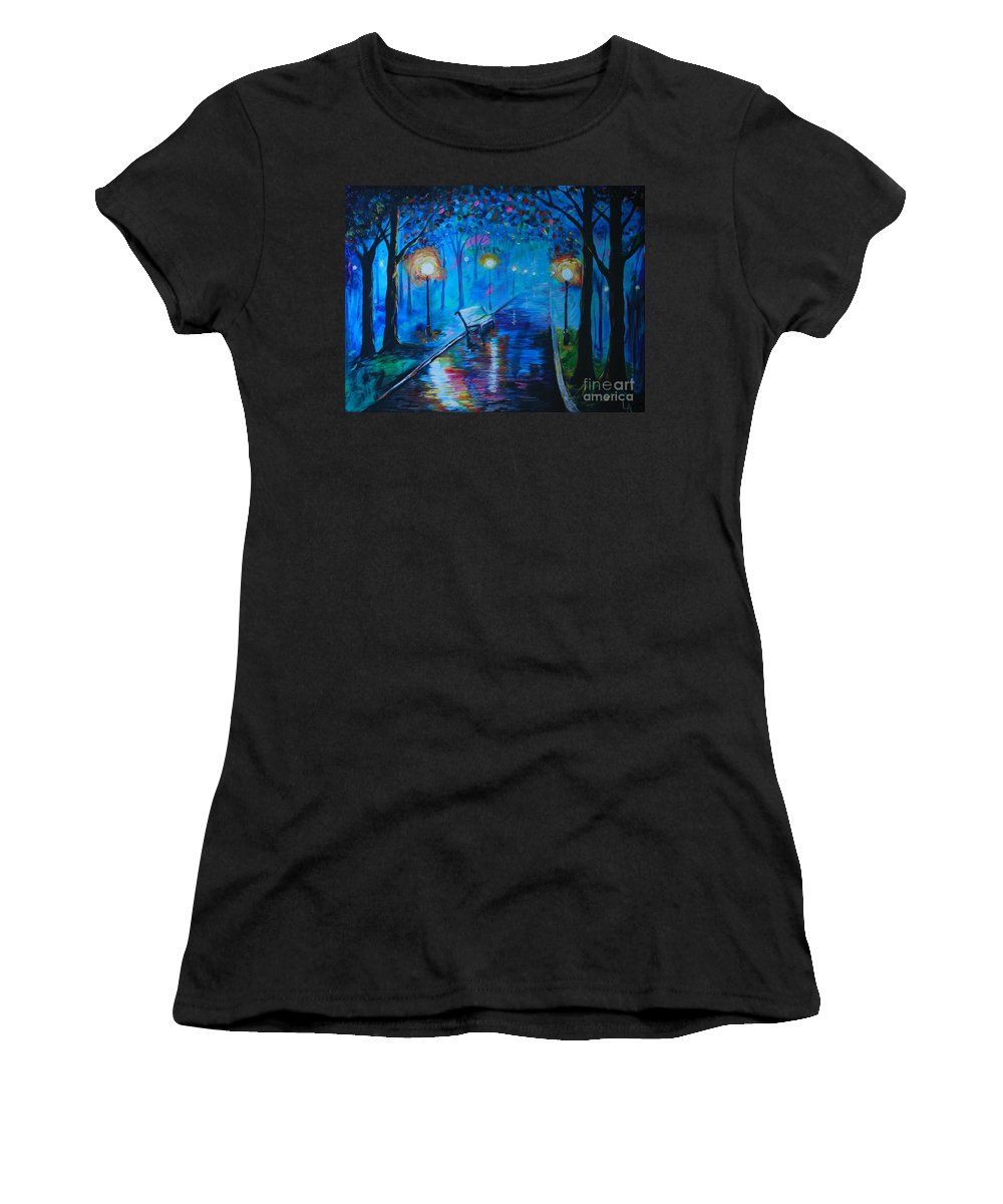 Park Bench Women's T-Shirt (Athletic Fit) featuring the painting Lighted Parkway by Leslie Allen