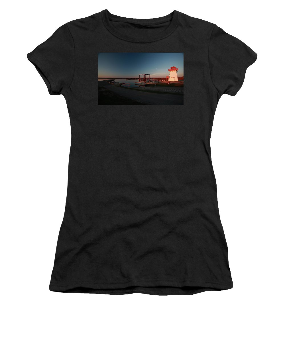 Lighthouse Women's T-Shirt featuring the digital art Lighthouse And Marina At Hecla In Manitoba by Mark Duffy