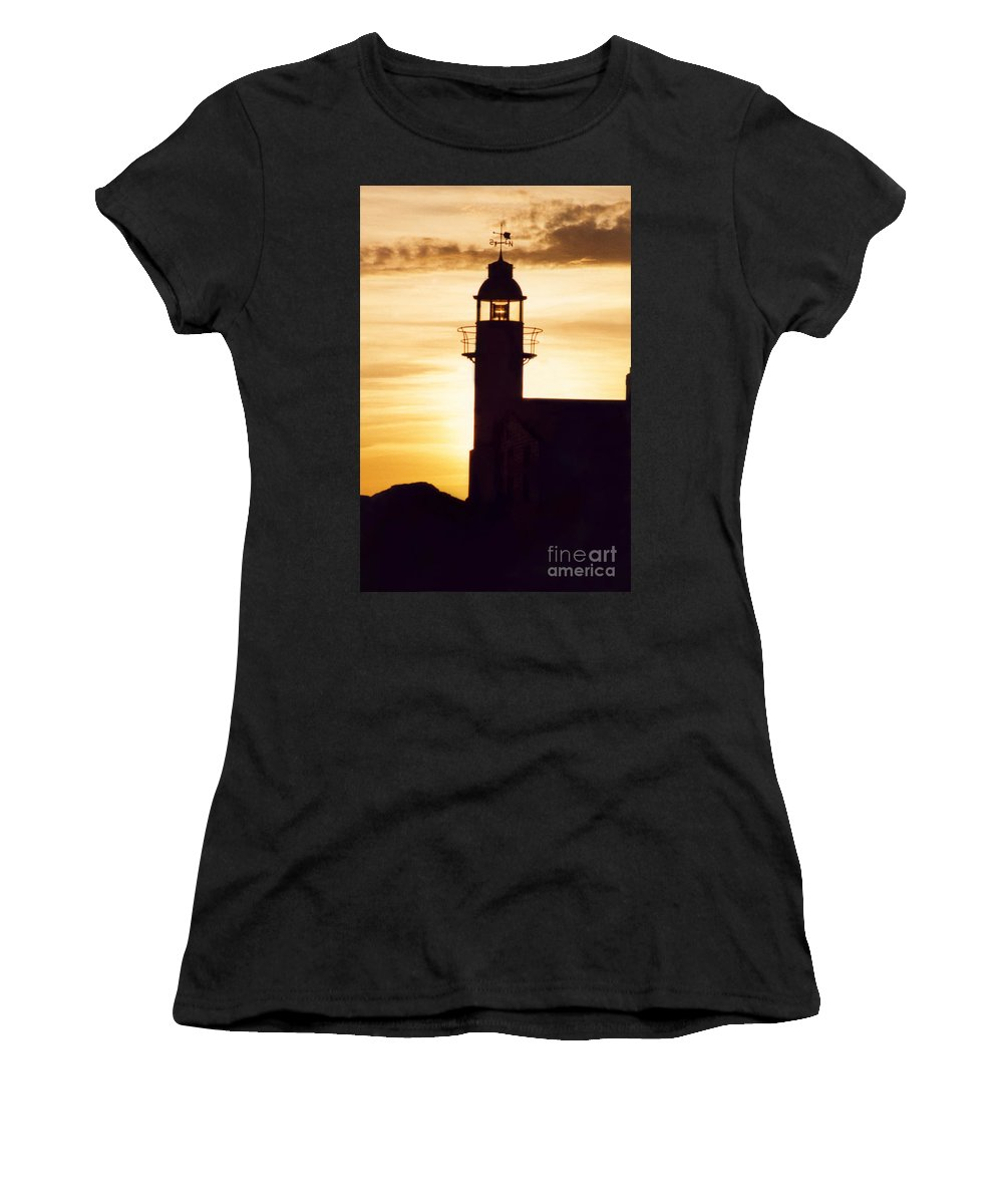 Serene Women's T-Shirt (Athletic Fit) featuring the photograph Lighthouse At Sunset by Mary Mikawoz