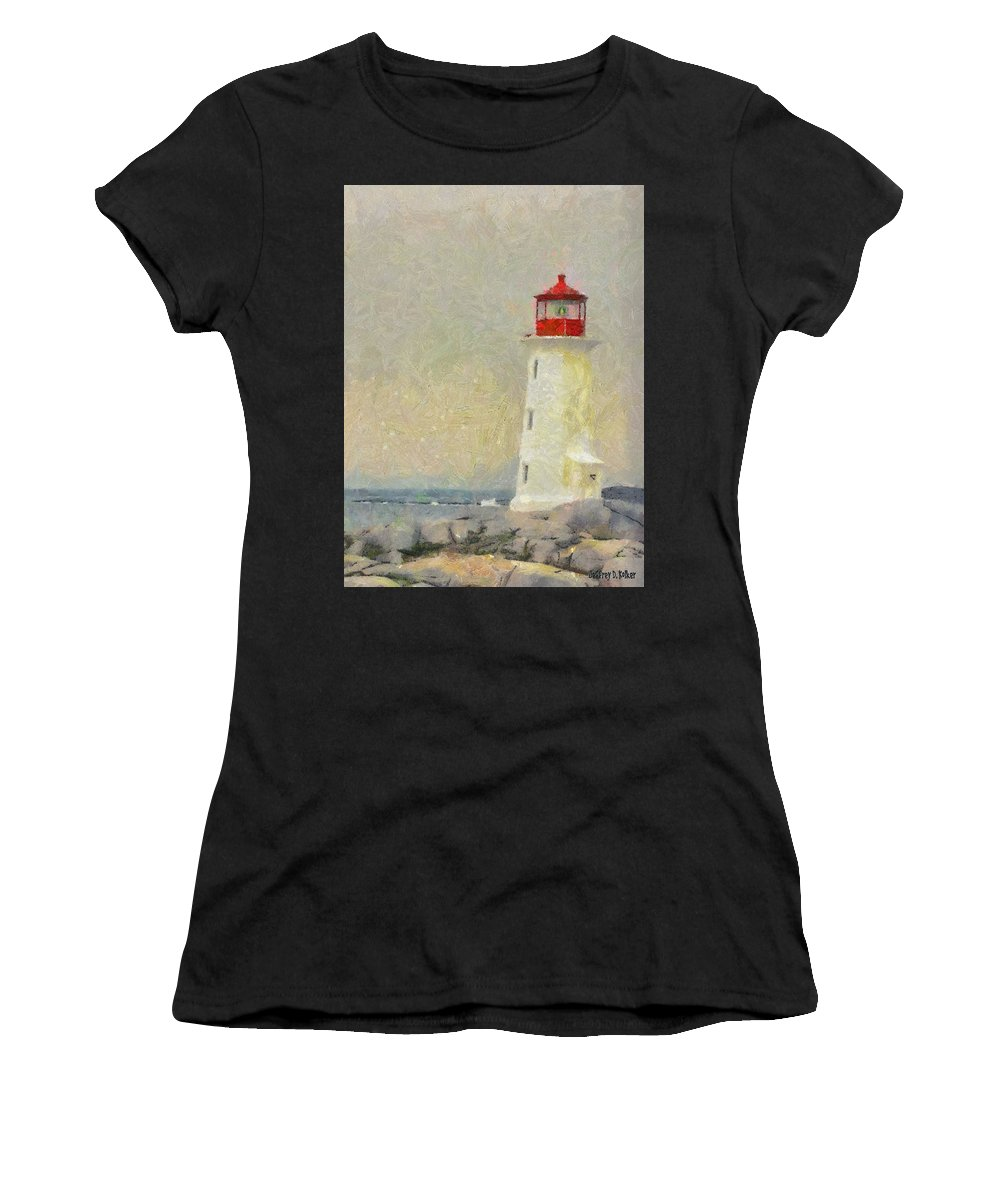 Canadian Women's T-Shirt featuring the painting Lighthouse by Jeffrey Kolker