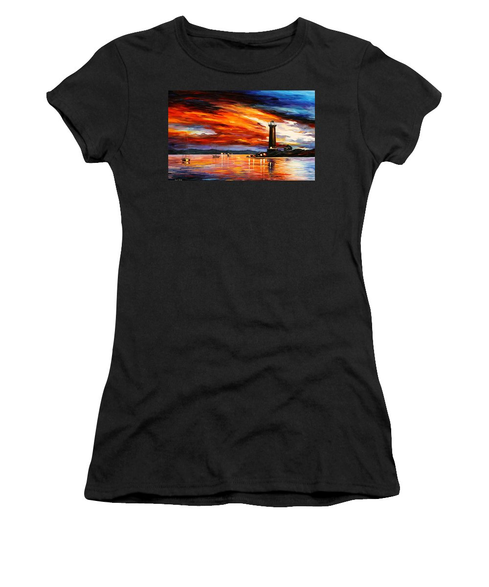 Afremov Women's T-Shirt (Athletic Fit) featuring the painting Lighthouse by Leonid Afremov