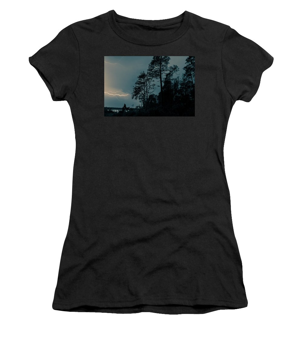 Lightning Women's T-Shirt (Athletic Fit) featuring the photograph Lighting On The Lake 2 by Benjamin Dunlap