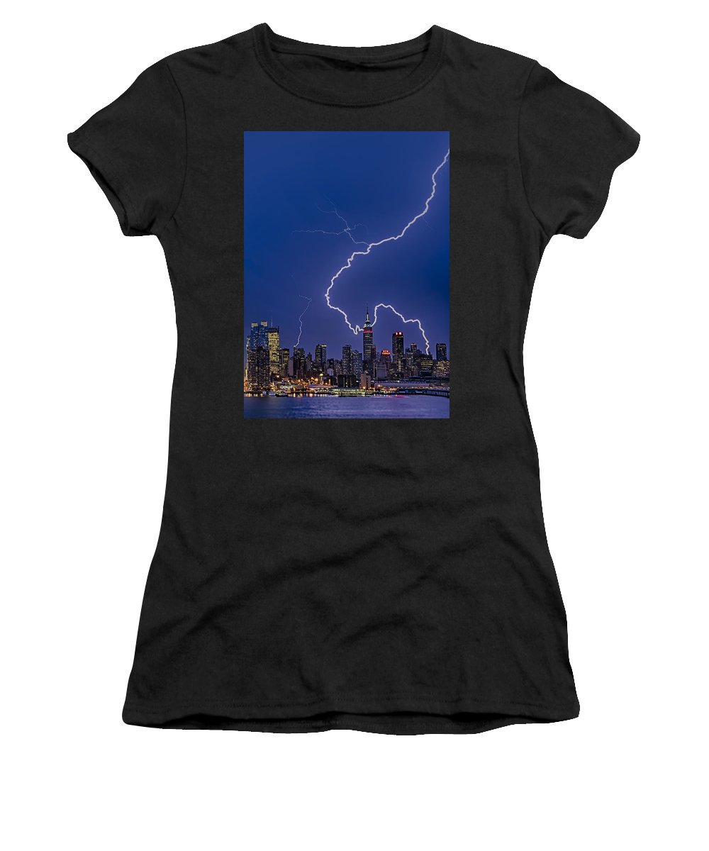 Lightning Women's T-Shirt (Athletic Fit) featuring the photograph Lightning Bolts Over New York City by Susan Candelario