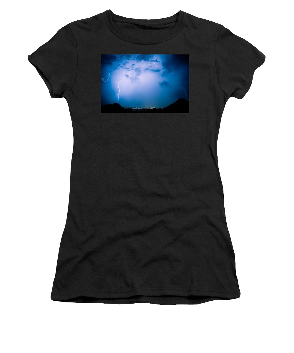 Lightning Women's T-Shirt (Athletic Fit) featuring the photograph Lightning Rainbow Blues by James BO Insogna