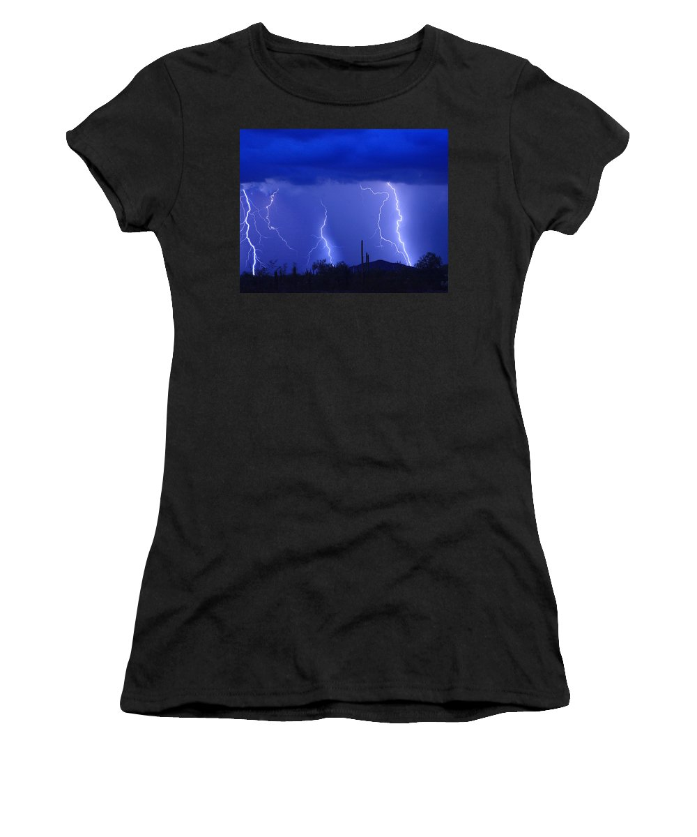 Lightning Women's T-Shirt (Athletic Fit) featuring the photograph Lightning Storm In The Desert Fine Art Photography Print by James BO Insogna