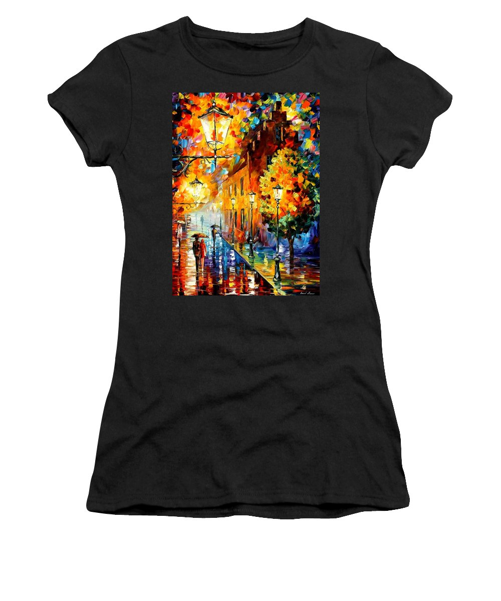 Afremov Women's T-Shirt (Athletic Fit) featuring the painting Lights In The Night by Leonid Afremov