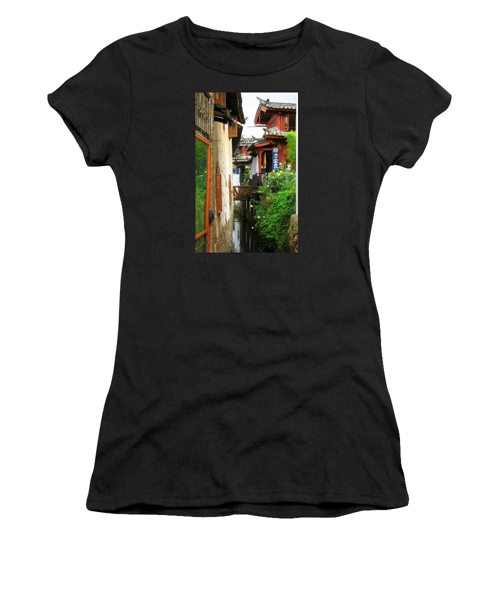 Lijiang Women's T-Shirt (Athletic Fit) featuring the photograph Lijiang Back Canal by Carla Parris