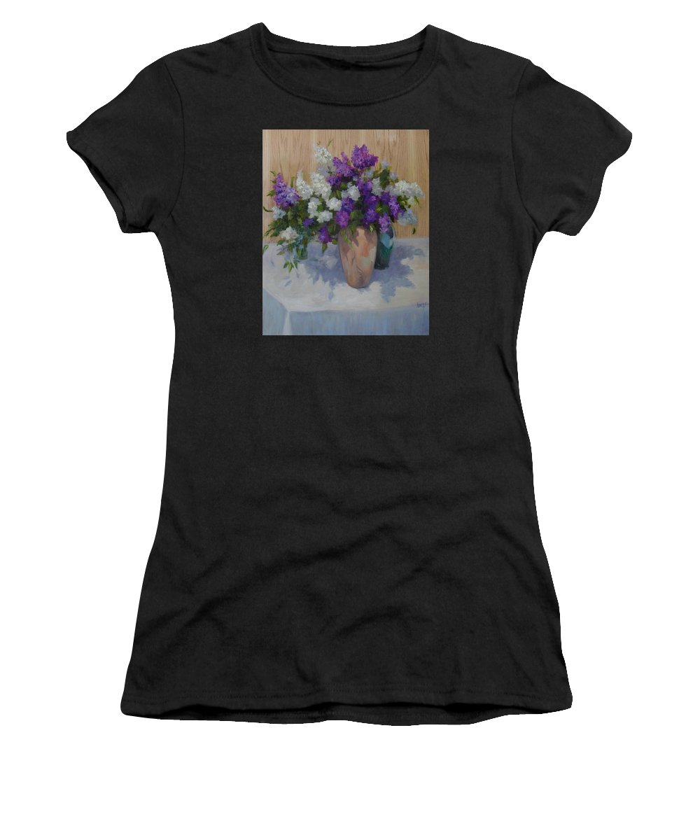 Lilacs Women's T-Shirt featuring the painting Lilacs by Patricia Kness