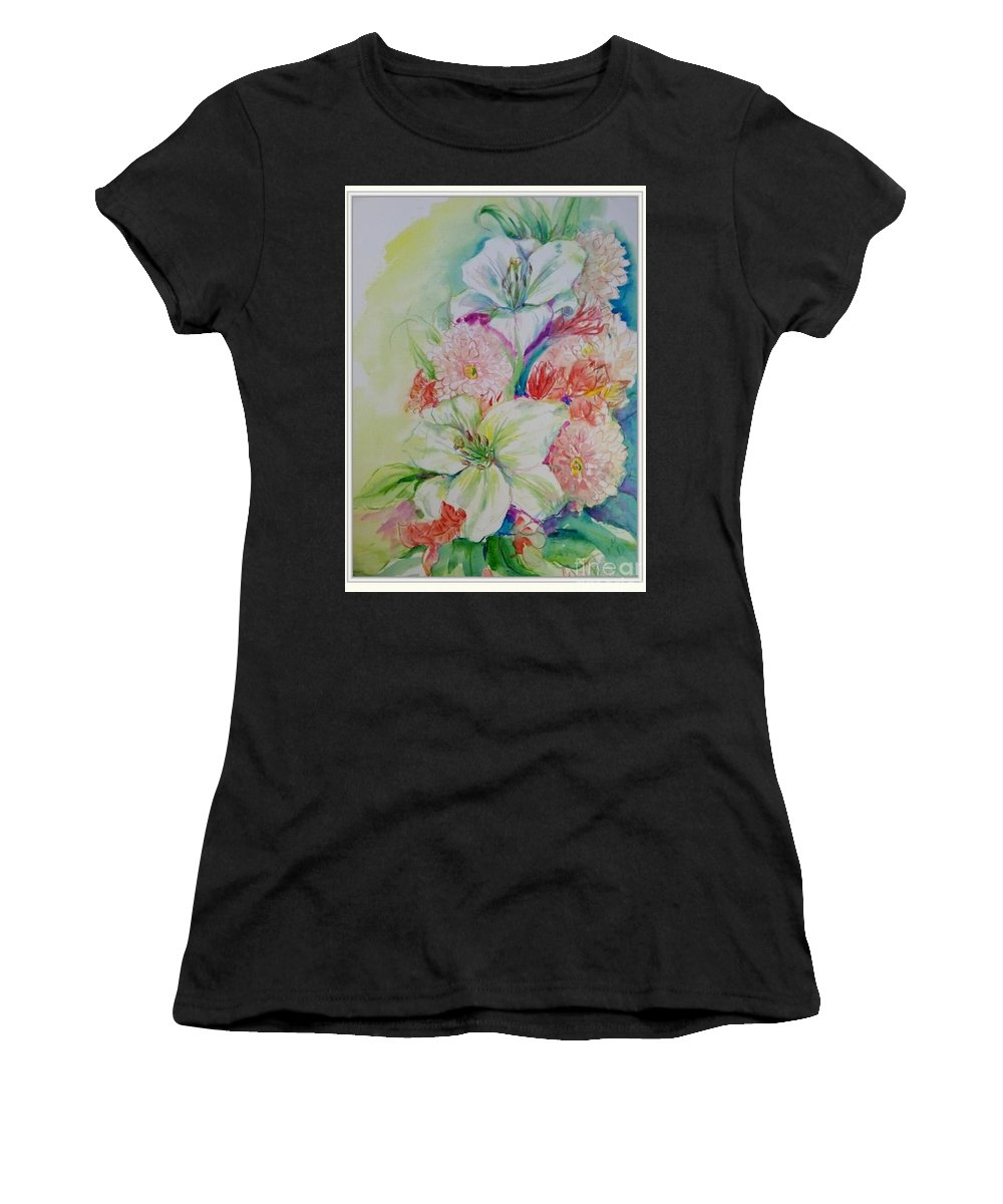 Still Life Of White Lilies And Pale Pink Mums With Hnts Of Green And Yellow Women's T-Shirt featuring the painting Lilies And Mums by Patricia Ducher