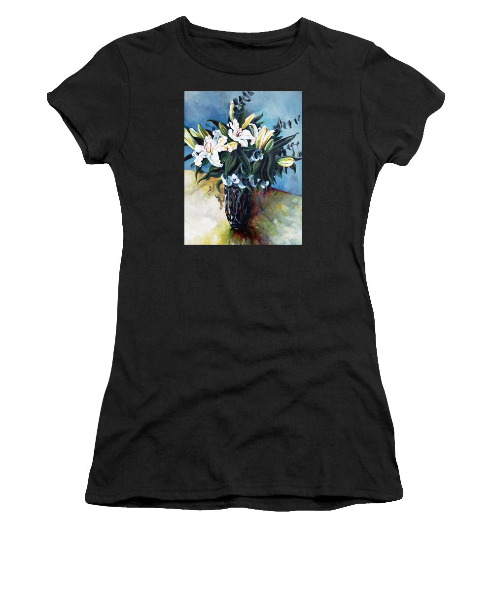 Lilies Women's T-Shirt featuring the painting Lilies by Jolante Hesse
