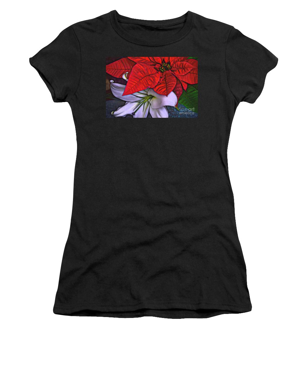Lily Women's T-Shirt (Athletic Fit) featuring the photograph Lily And His Poinsetta by Diana Mary Sharpton