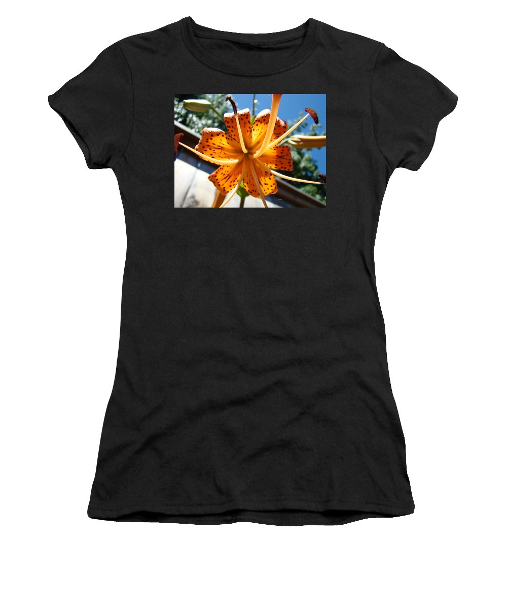 Lilies Women's T-Shirt (Athletic Fit) featuring the photograph Lily Flower Artwork Orange Lilies 3 Giclee Art Prints Baslee Troutman by Baslee Troutman