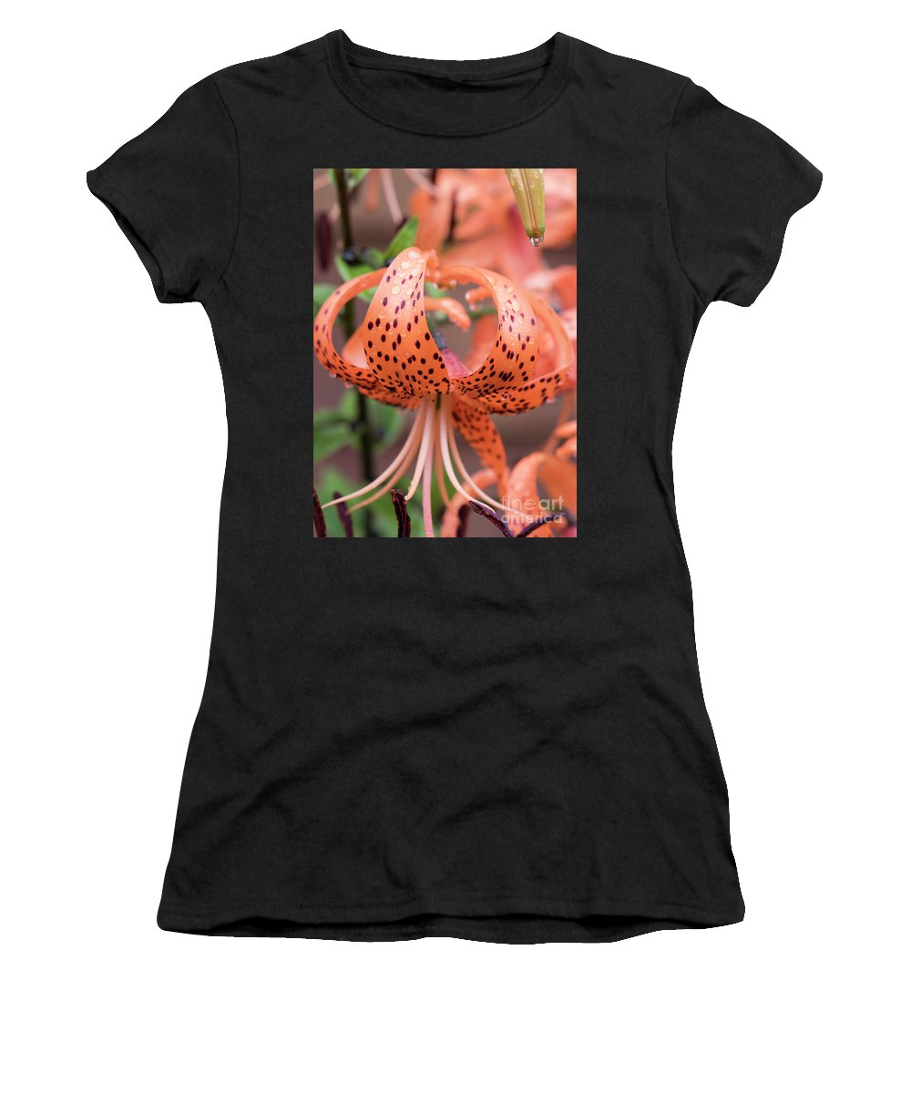 Natanson Women's T-Shirt (Athletic Fit) featuring the photograph Lily In The Rain by Steven Natanson