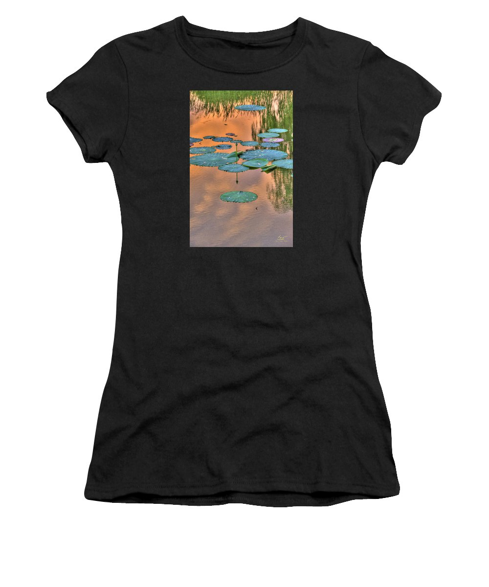 Pond Women's T-Shirt (Athletic Fit) featuring the photograph Lily Pads by Sam Davis Johnson