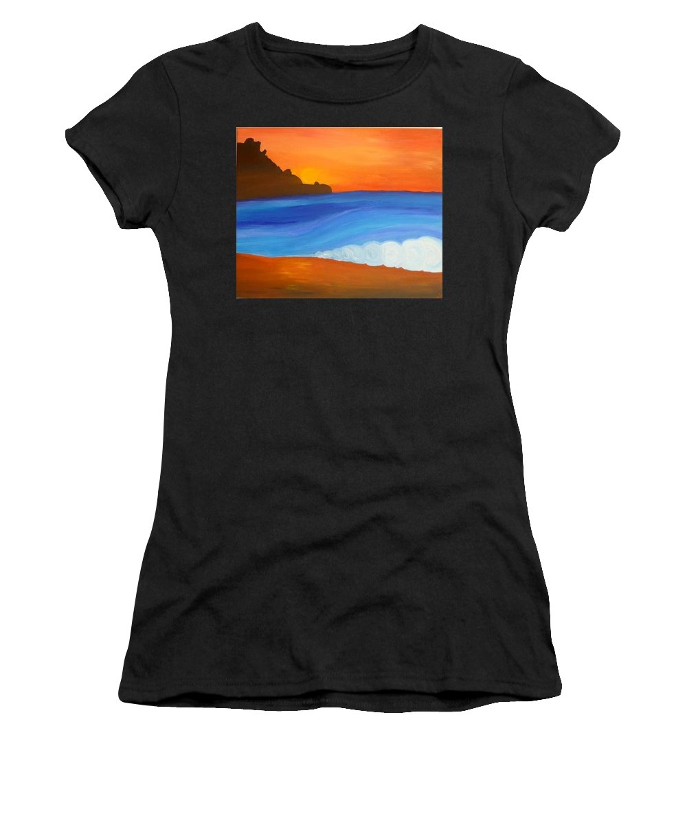 Women's T-Shirt (Athletic Fit) featuring the painting Linda Mar Beach by Annie Gigon