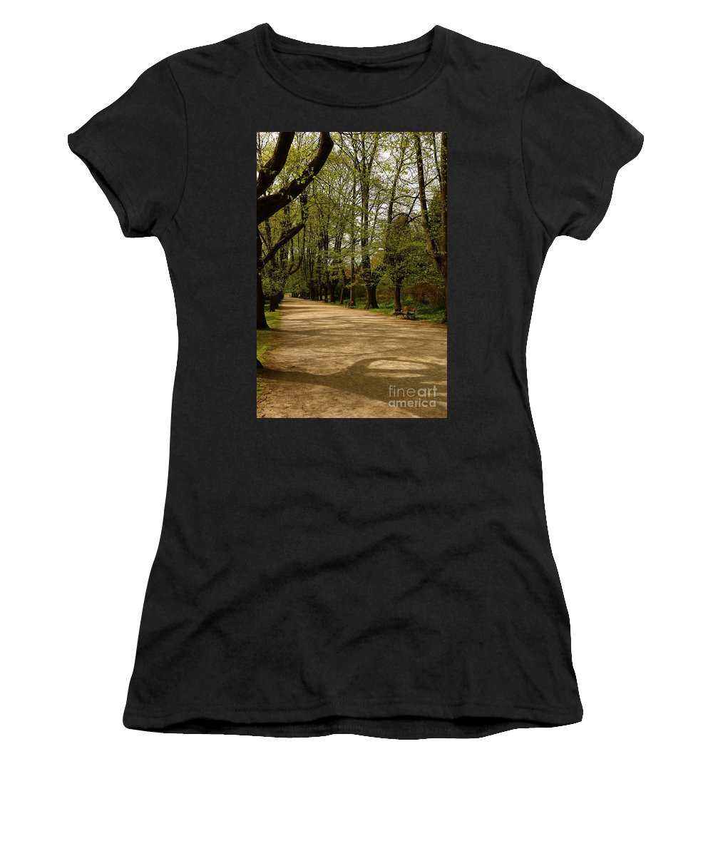 Linden Tree Women's T-Shirt (Athletic Fit) featuring the photograph Linden Tree Alley by Christiane Schulze Art And Photography