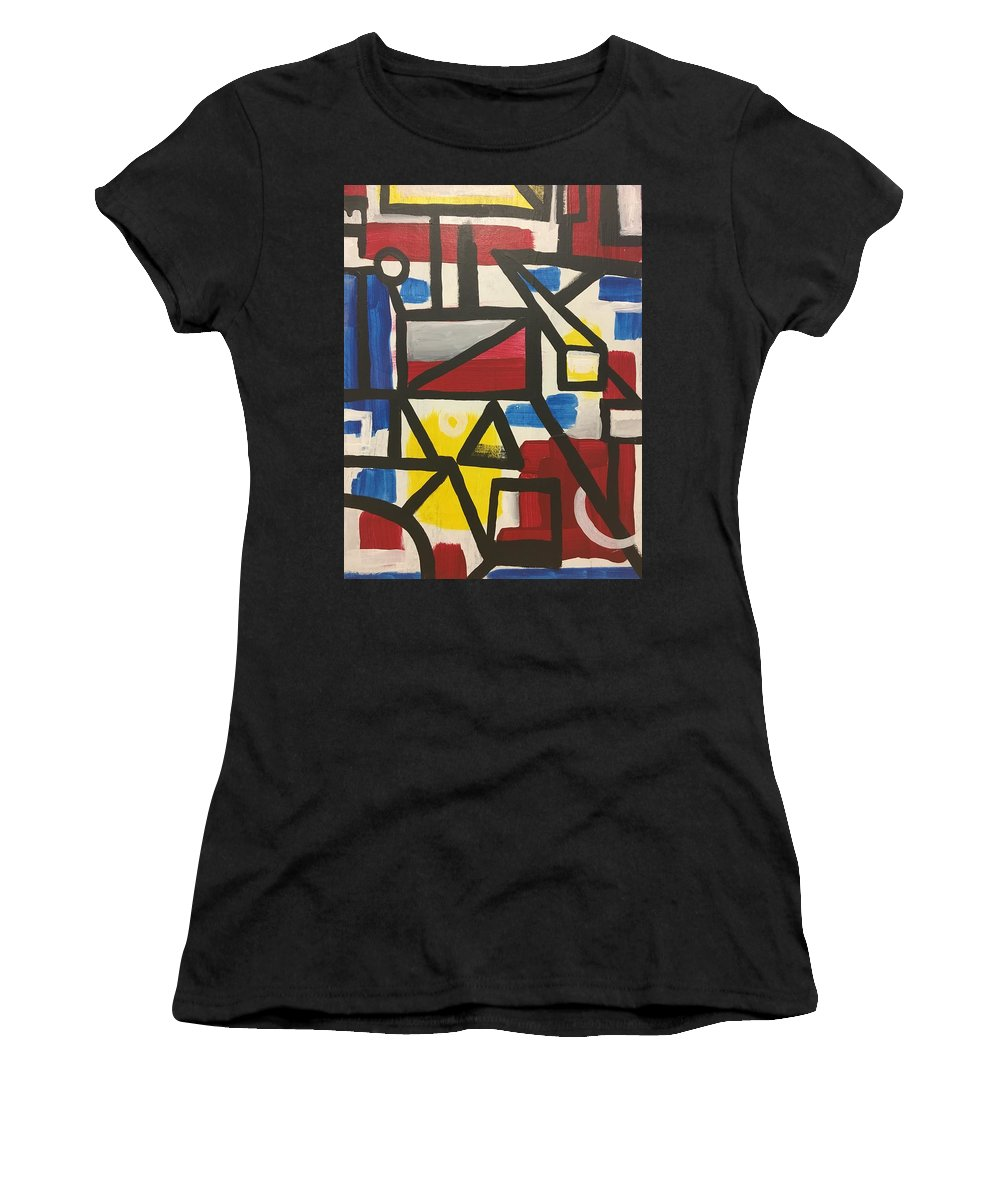Blue Women's T-Shirt (Athletic Fit) featuring the painting Line by Beau Swartz