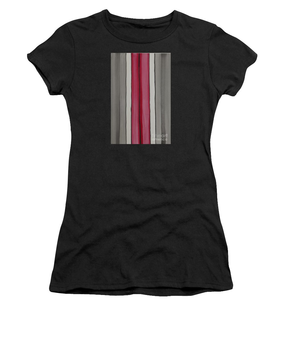 Red Women's T-Shirt (Athletic Fit) featuring the painting Lines by Jacqueline Athmann