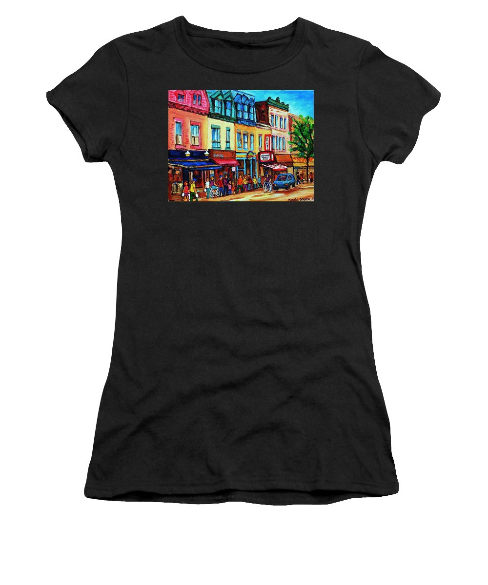 Cityscape Women's T-Shirt (Athletic Fit) featuring the painting Lineup For Smoked Meat Sandwiches by Carole Spandau