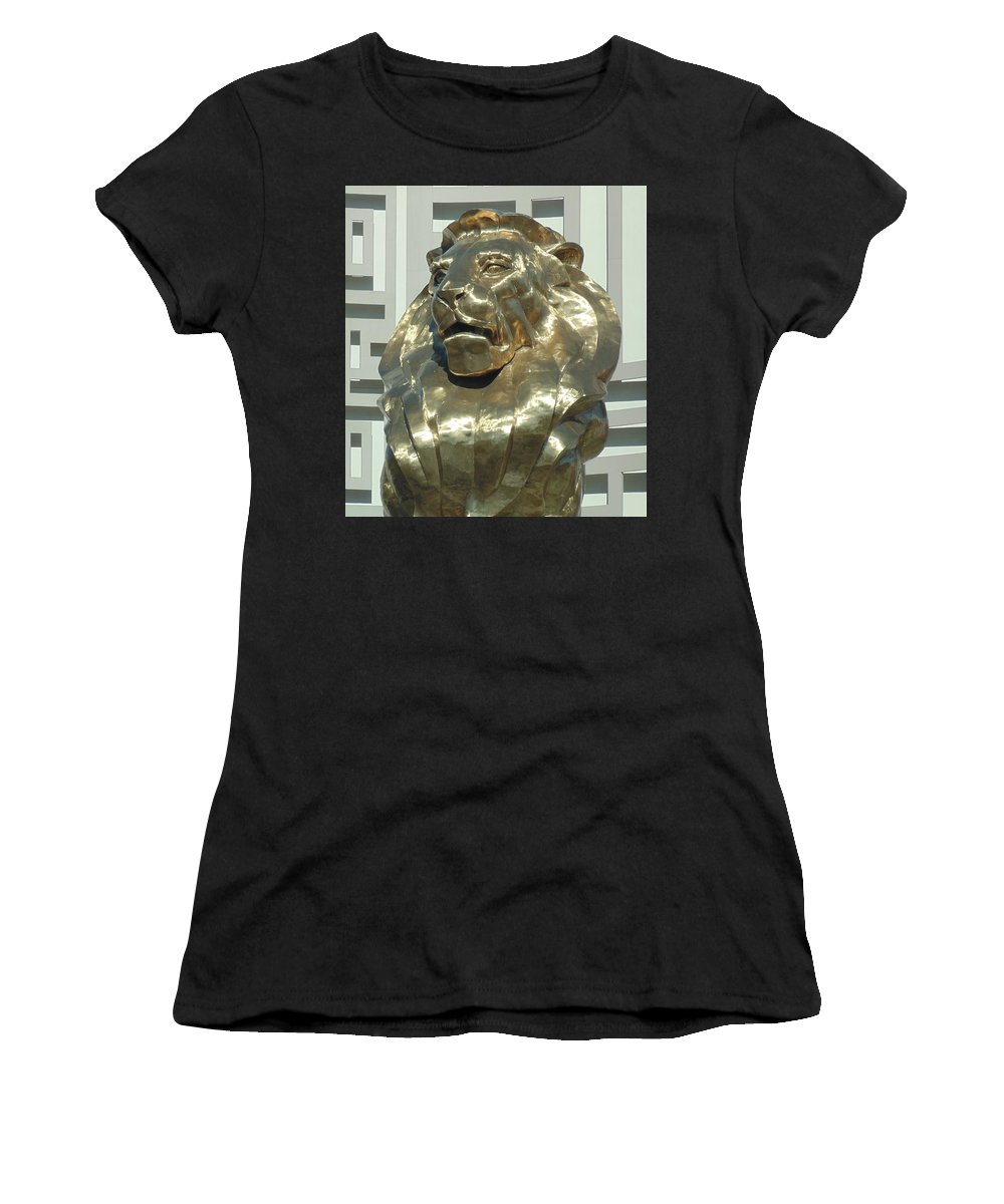 Lion Women's T-Shirt featuring the photograph Lion At Mgm by Dotti Hannum