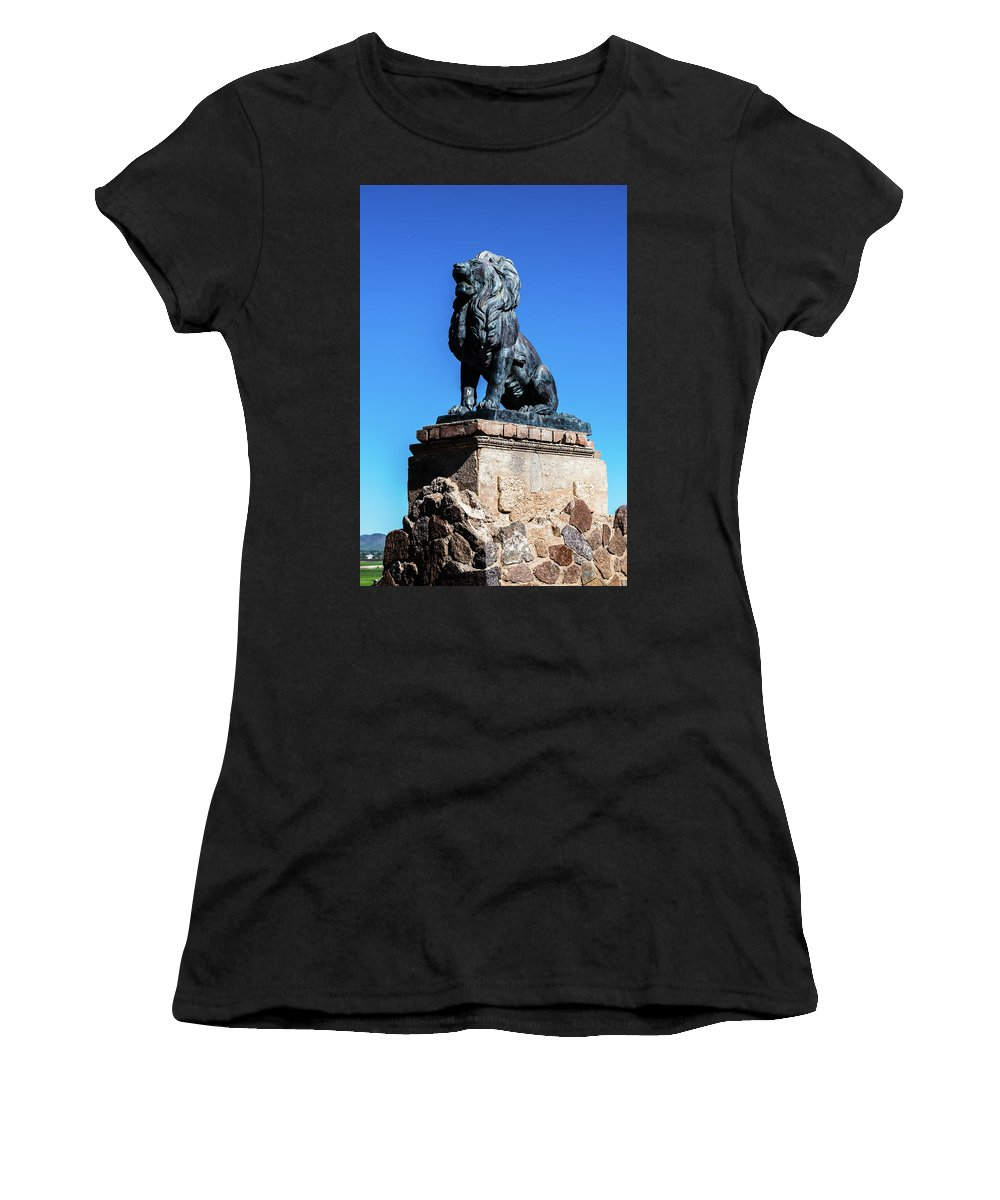 San Xavier Del Bac Mission Women's T-Shirt (Athletic Fit) featuring the photograph Lion At San Xavier Mission - Tucson Arizona by Jon Berghoff
