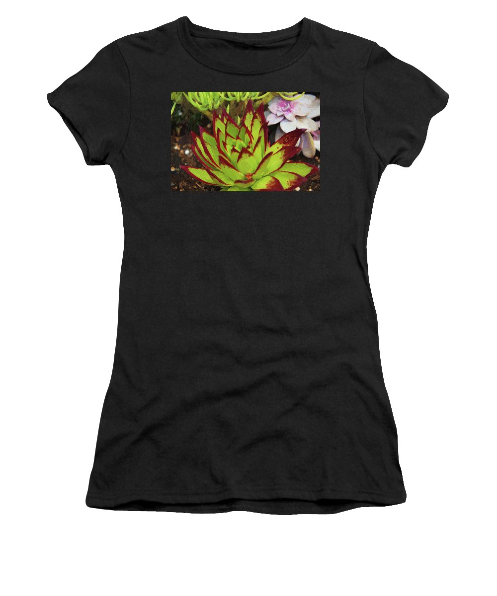 Red Tip Succulent Women's T-Shirt (Athletic Fit) featuring the photograph Lipstick Or Echeveria Agavoides At Balboa Park by Kenneth Roberts