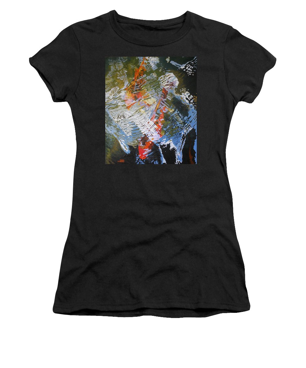 Fish Women's T-Shirt (Athletic Fit) featuring the painting Liquid Gold 2 by Joan Florido
