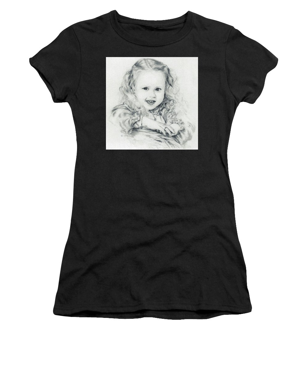 Portrait Women's T-Shirt (Athletic Fit) featuring the drawing Lisa by Rachel Christine Nowicki