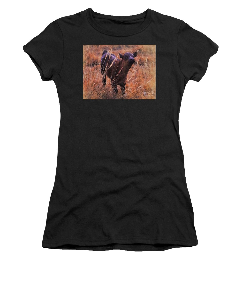 Angus Women's T-Shirt (Athletic Fit) featuring the painting Little Angus Bull Calf by Michele Carter