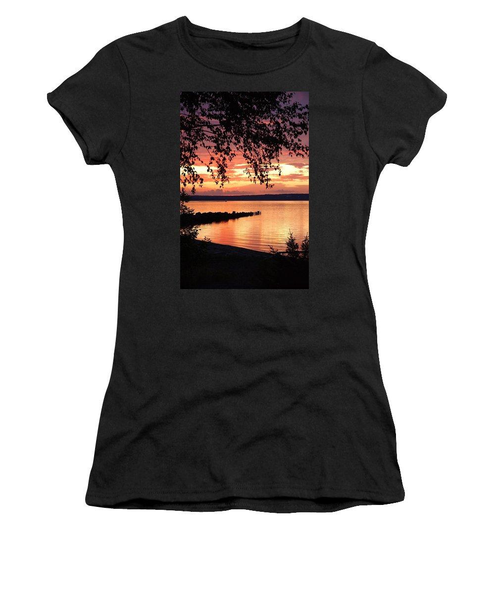 Women's T-Shirt featuring the photograph Little Breakwall Sunset by James Stroshane