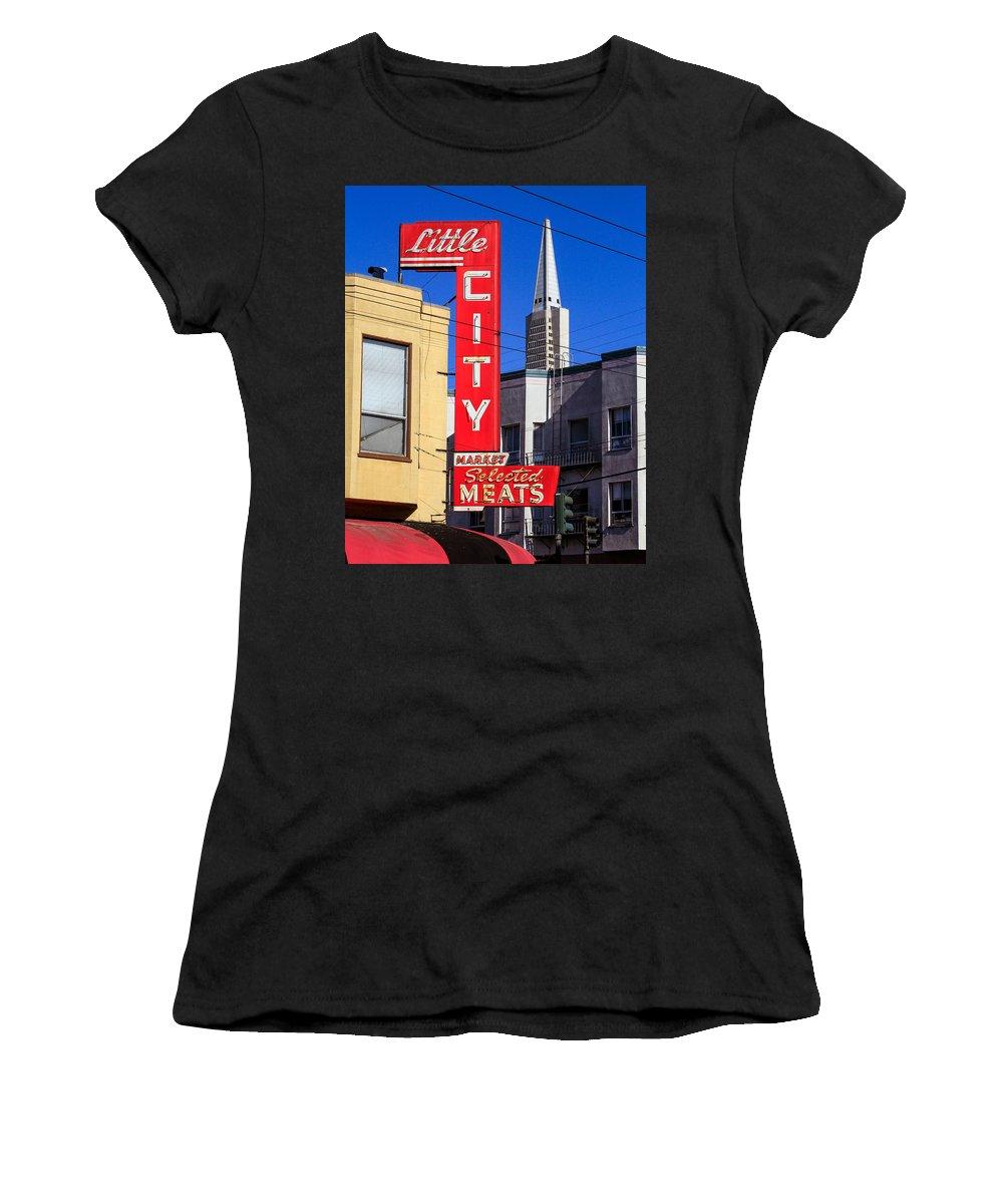 Bonnie Follett Women's T-Shirt featuring the photograph Little City Sign North Beach by Bonnie Follett