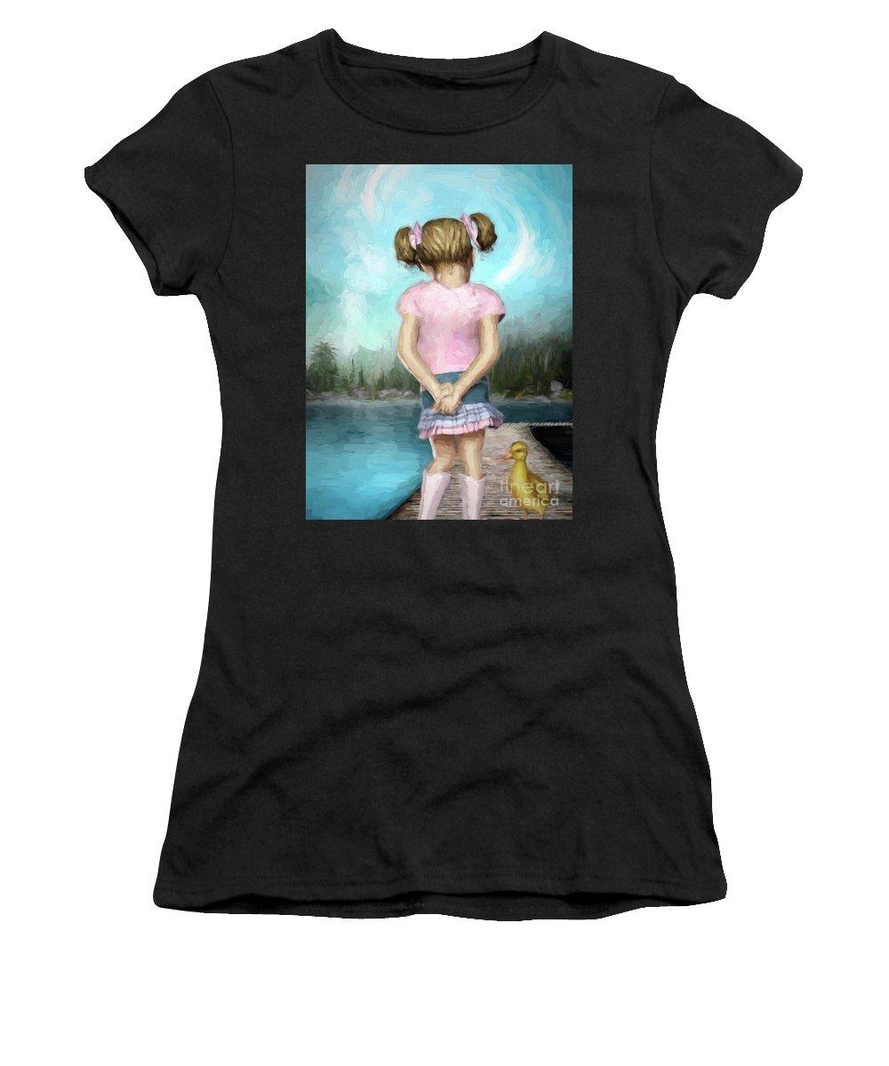 Girl Women's T-Shirt featuring the digital art Little Friends by Autumn Moon