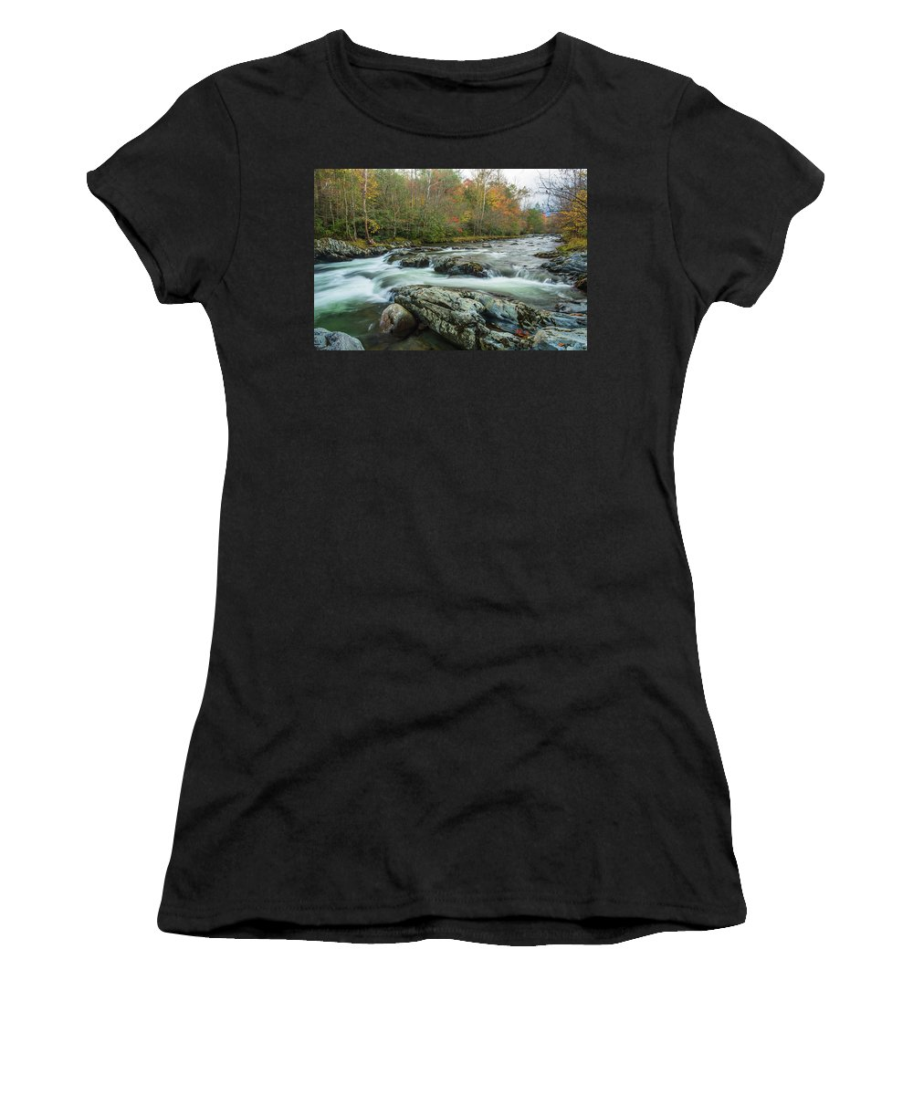 Smoky Mountains Women's T-Shirt (Athletic Fit) featuring the photograph Little Pigeon River In Autumn In Smoky Mountains In Autumn by Carol Mellema