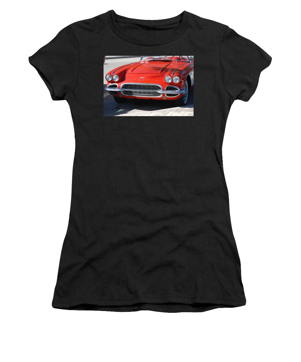 Corvette Women's T-Shirt (Athletic Fit) featuring the photograph Little Red Corvette by Rob Hans