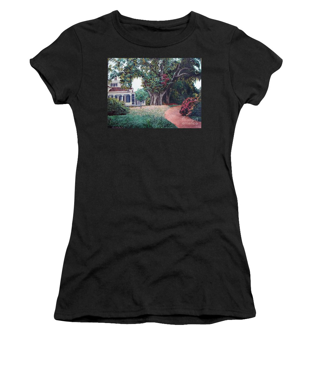 Landscape Women's T-Shirt (Athletic Fit) featuring the painting Live Oak Gardens Jefferson Island La by Todd Blanchard
