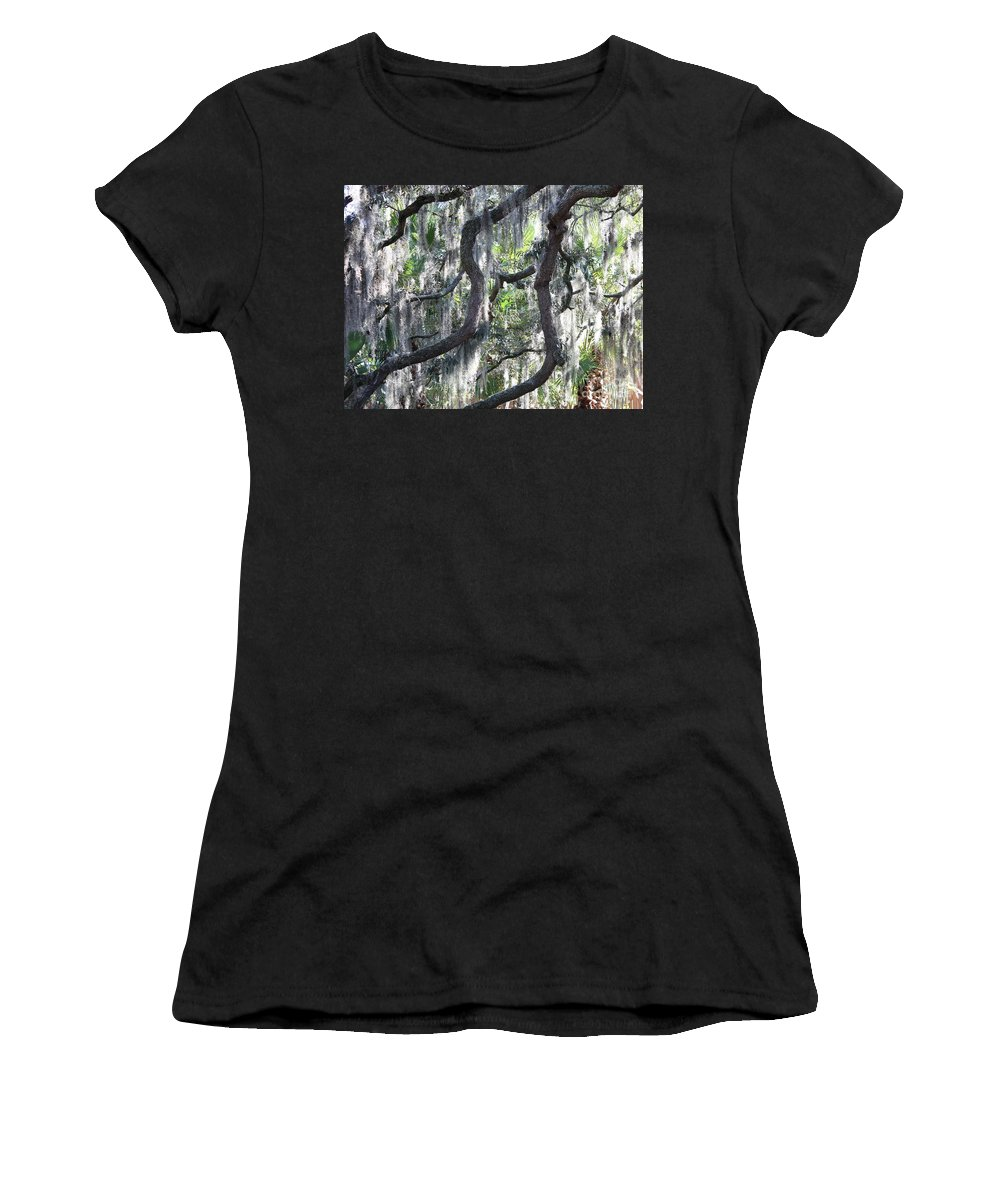 Spanish Moss Women's T-Shirt featuring the photograph Live Oak With Spanish Moss And Palms by Carol Groenen