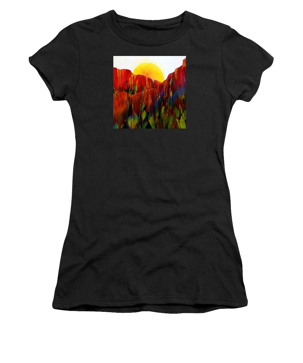 Oil Women's T-Shirt (Athletic Fit) featuring the painting Living Earth by Peggy Guichu