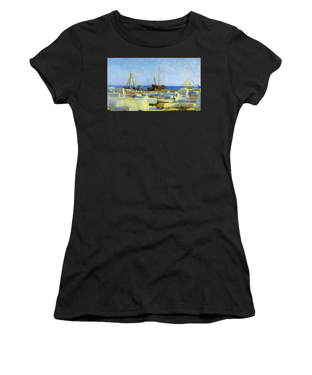 Loading Women's T-Shirt (Athletic Fit) featuring the painting Loading Marble by Ge Nikolai