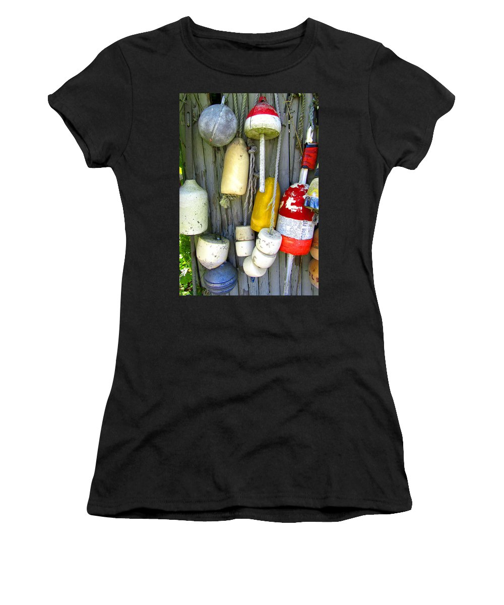 Antique Women's T-Shirt (Athletic Fit) featuring the photograph Lobster Trap Buoys 2 by Mark Sellers