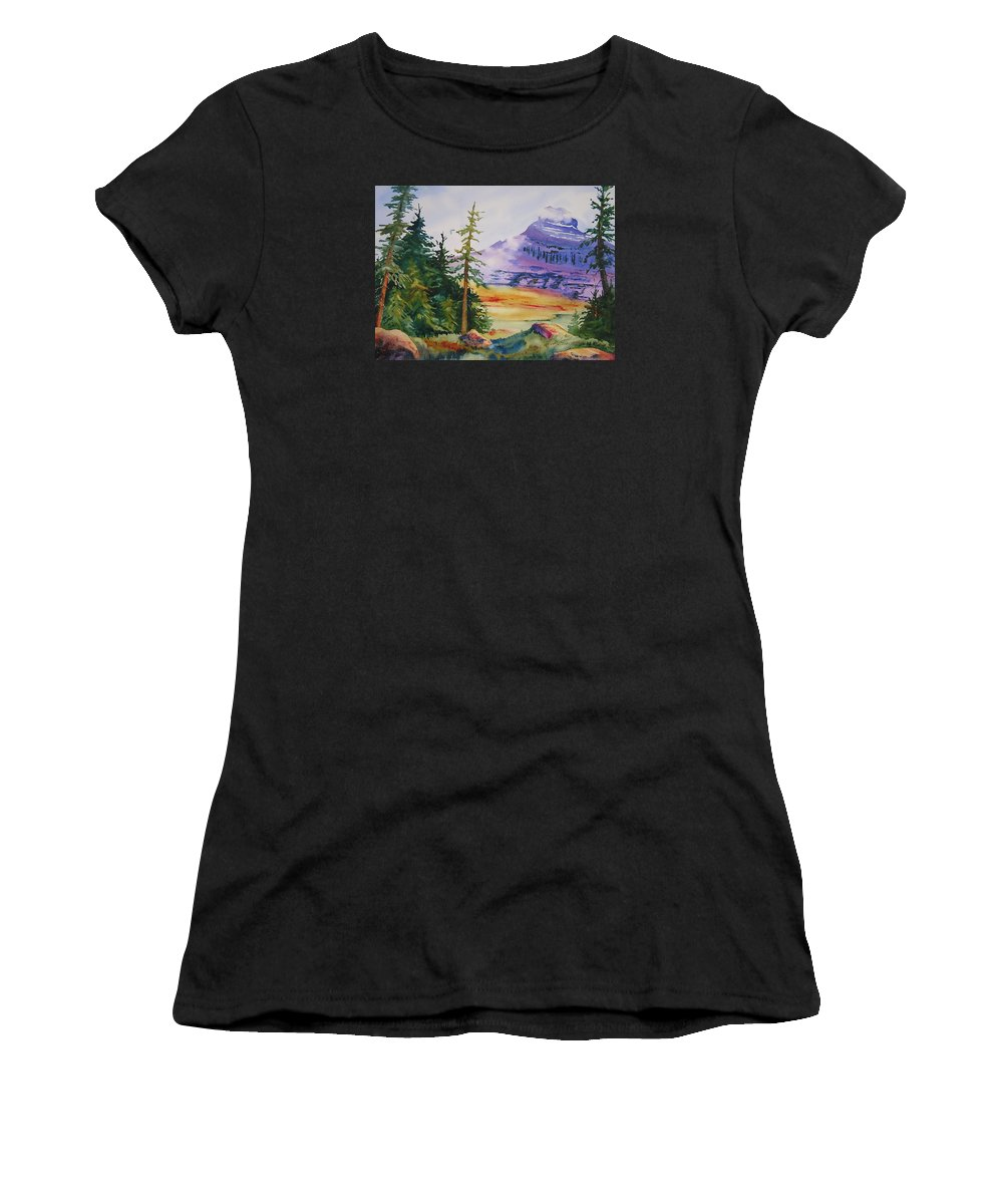 Landscape Women's T-Shirt (Athletic Fit) featuring the painting Logan Pass by Karen Stark