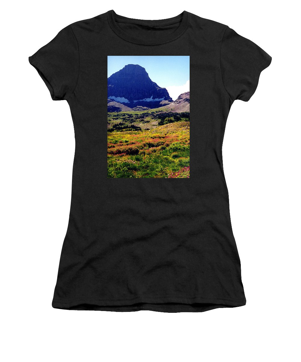 Glacier National Park Women's T-Shirt (Athletic Fit) featuring the photograph Logans Pass In Glacier National Park by Nancy Mueller