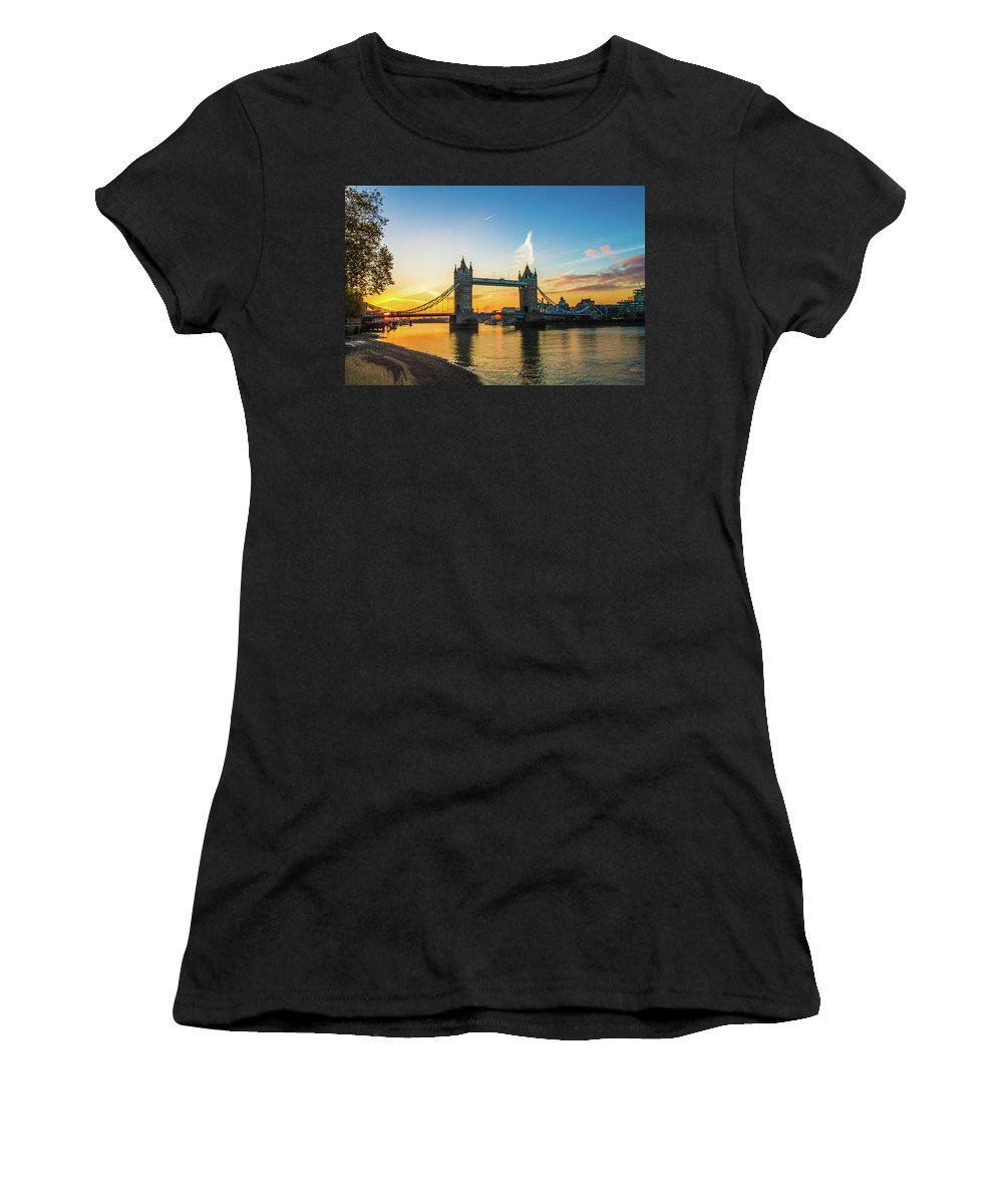 Bridge Women's T-Shirt (Athletic Fit) featuring the photograph London Sunrise 2 by Robert Stasio