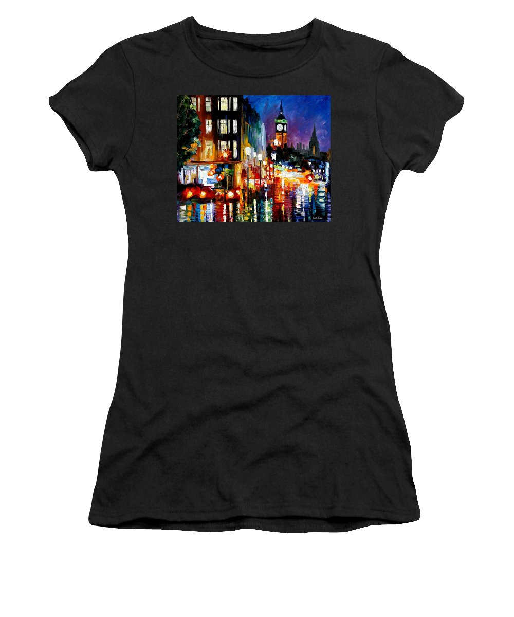 Afremov Women's T-Shirt (Athletic Fit) featuring the painting London's Lights by Leonid Afremov