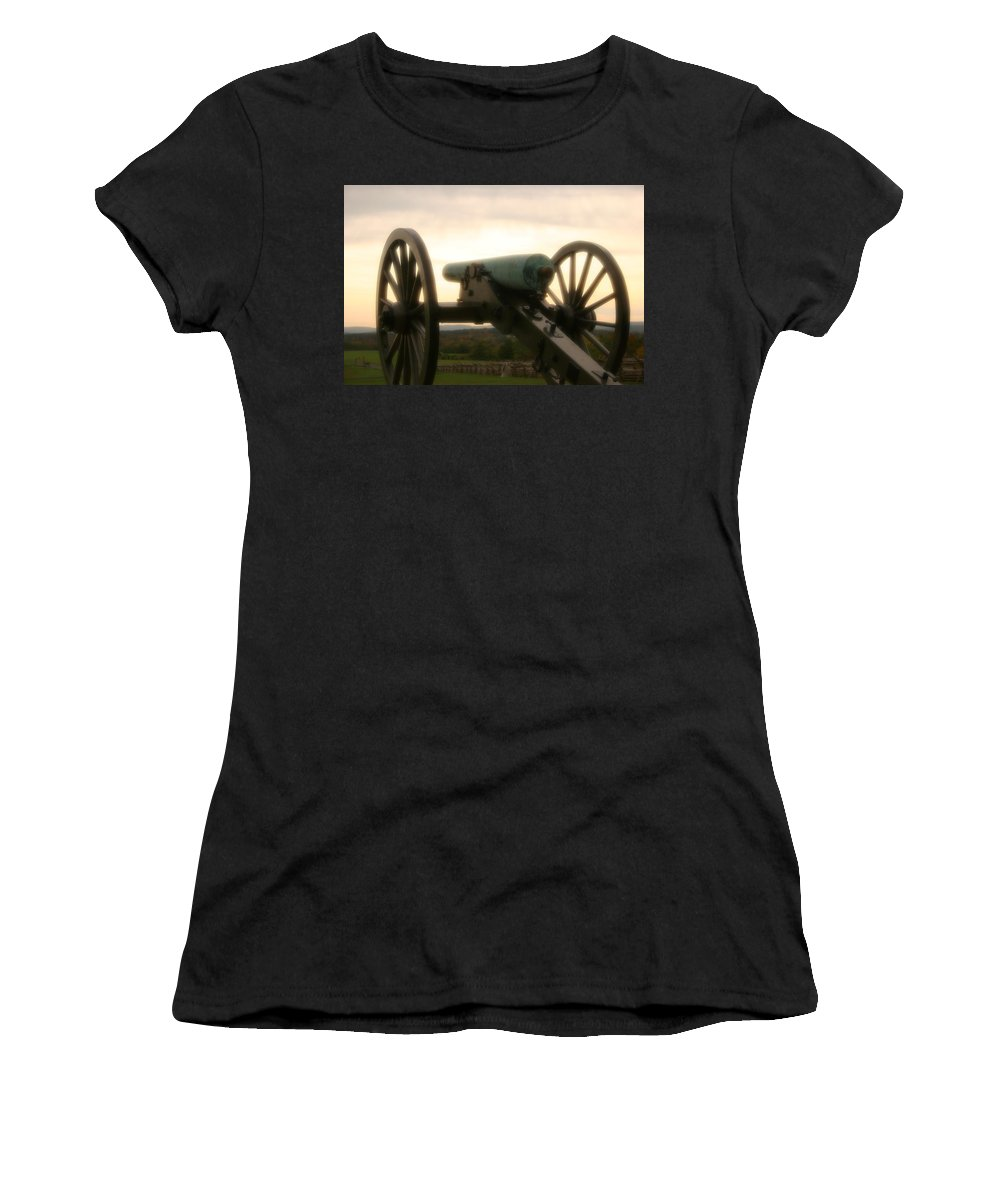 Gettysburg Women's T-Shirt (Athletic Fit) featuring the photograph Lone Cannon by DJ Florek