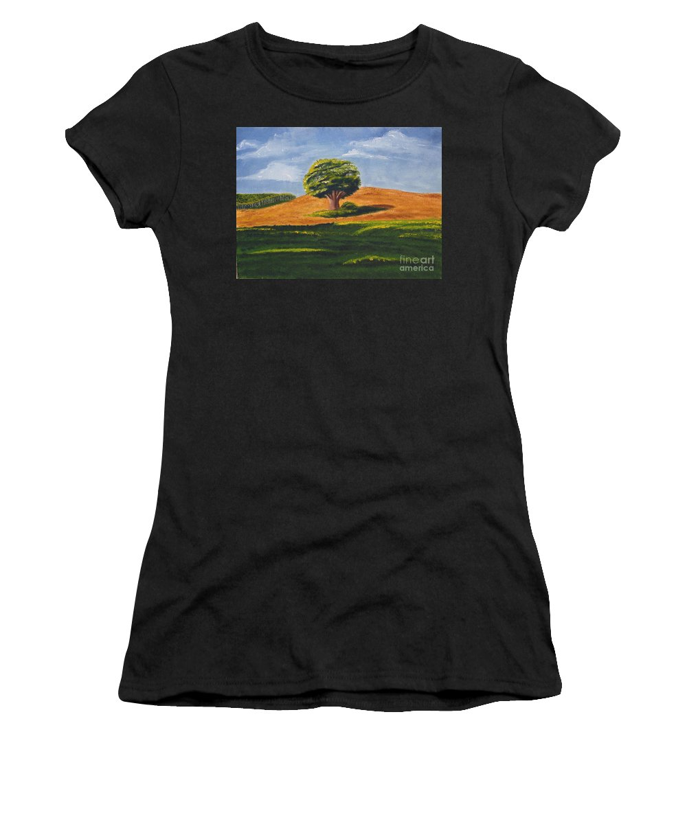 Tree Women's T-Shirt featuring the painting Lone Tree by Mendy Pedersen